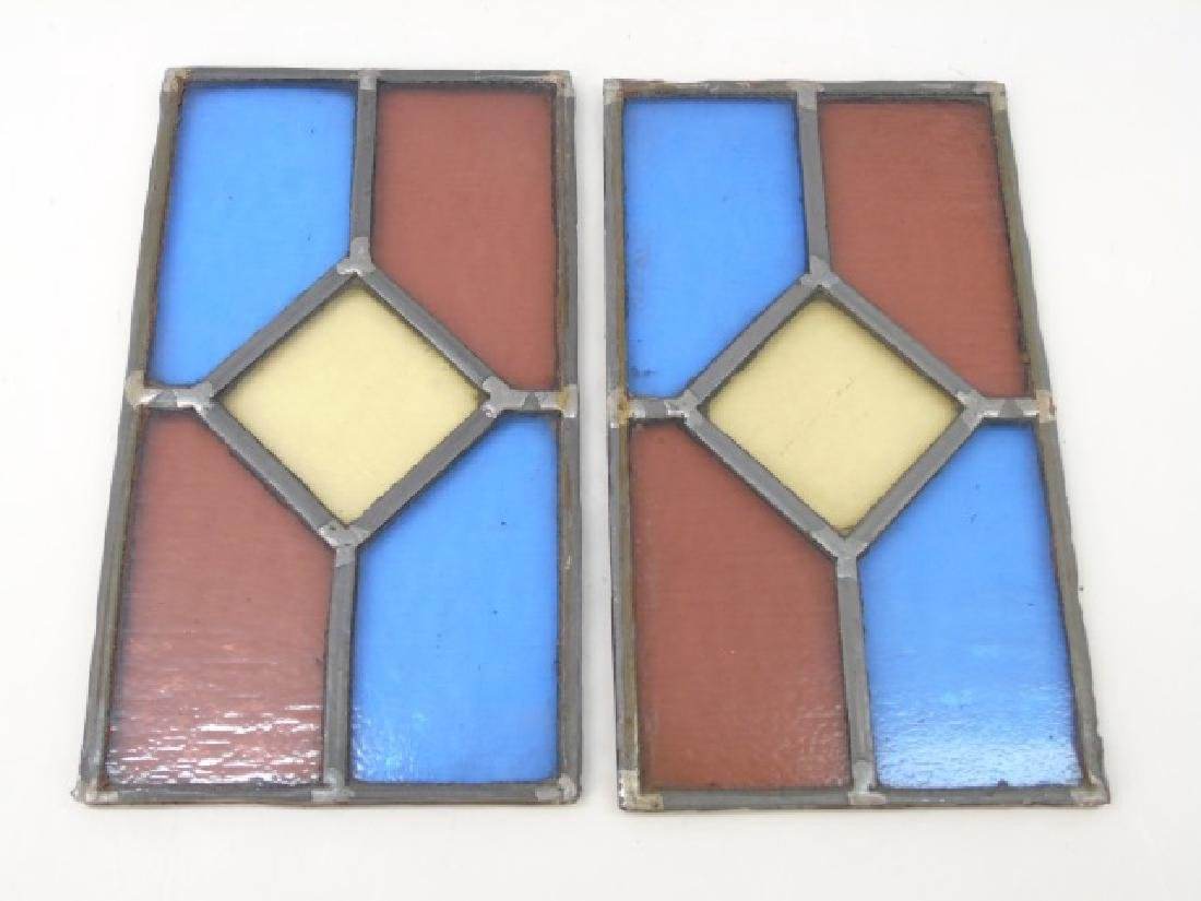 Pair Antique Tudor Style Stained Glass Windows