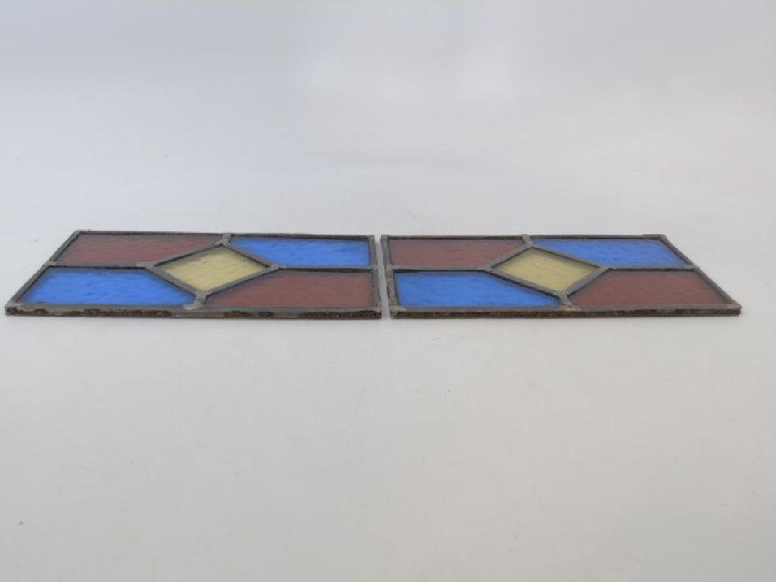Pair Antique Tudor Style Stained Glass Windows - 2