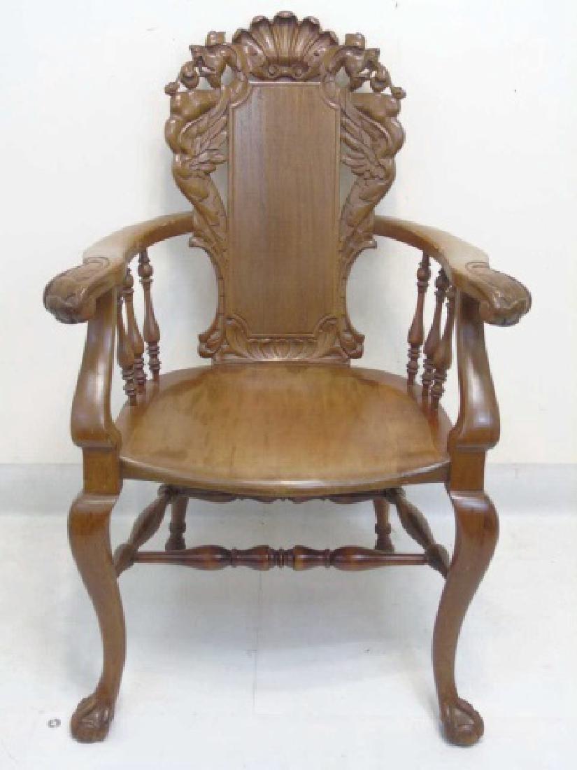 Antique Victorian Carved Oak Gargoyle Armchair