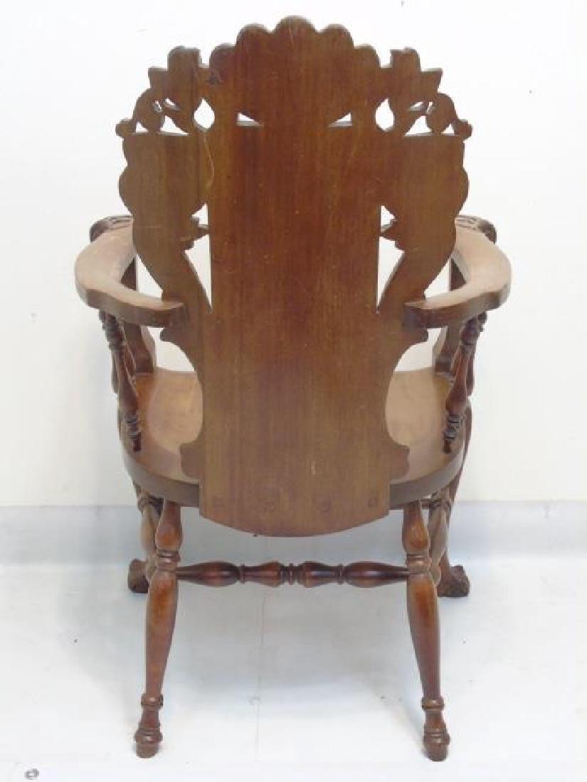 Antique Victorian Carved Oak Gargoyle Armchair - 2