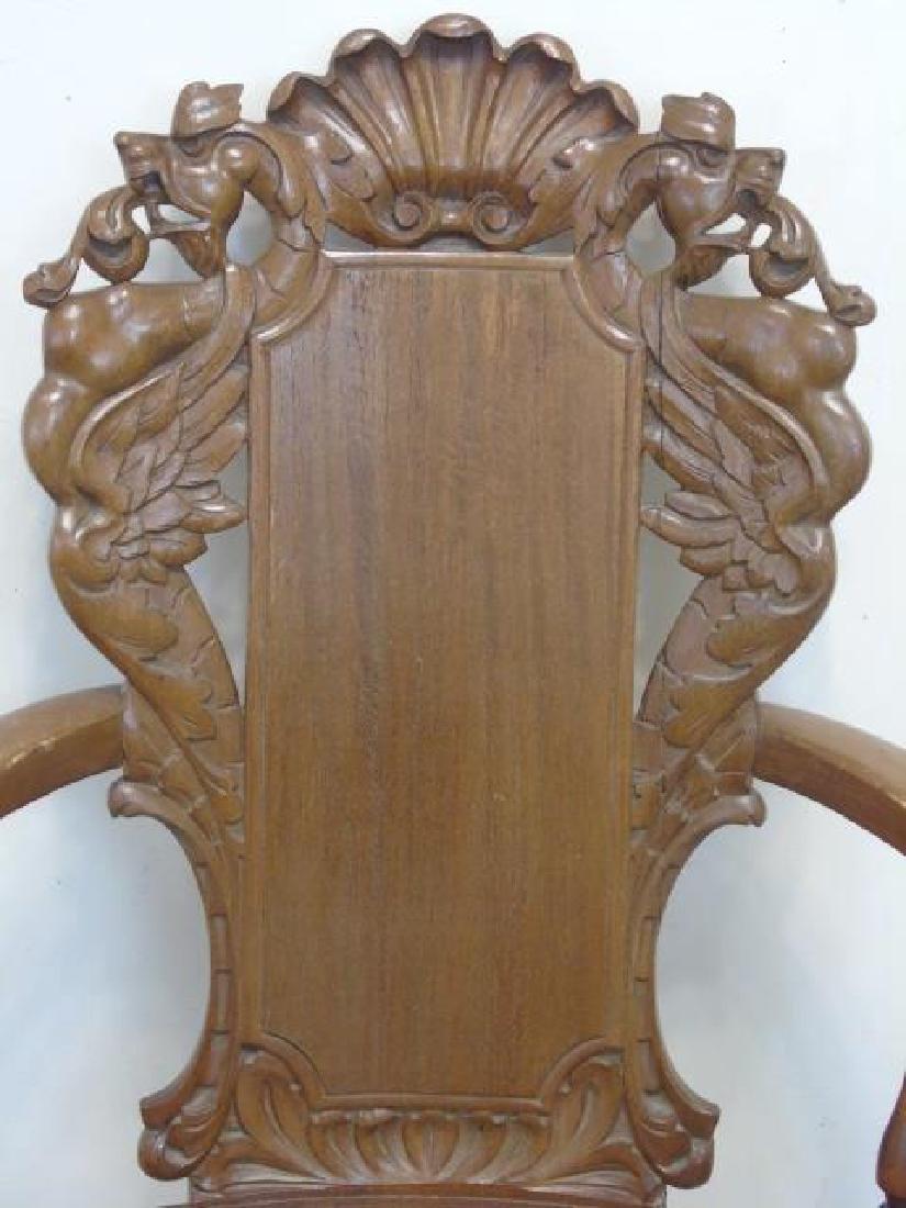 Antique Victorian Carved Oak Gargoyle Armchair - 3