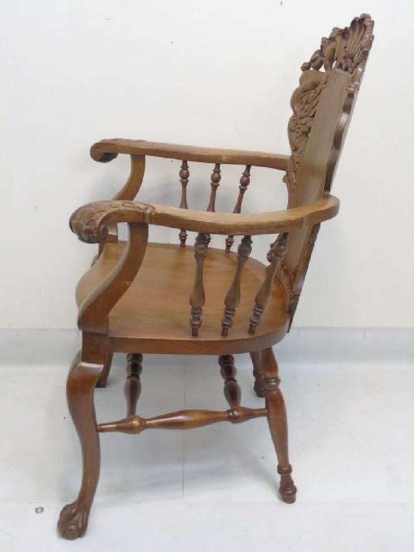 Antique Victorian Carved Oak Gargoyle Armchair - 5