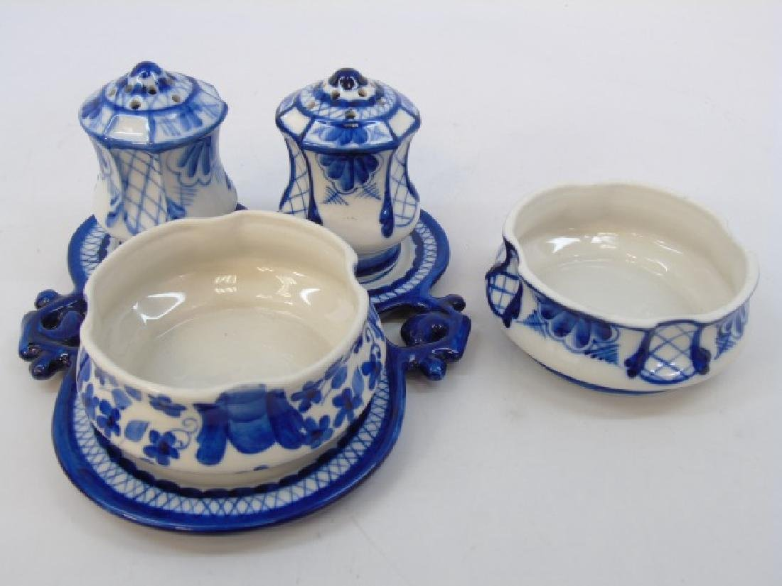 Russian Gzhel Pieces with Rounded Holder Dish
