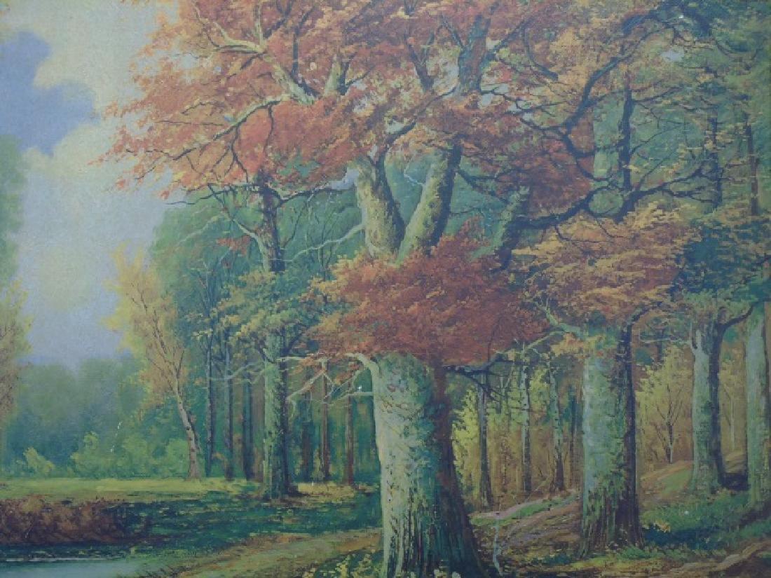Framed Print after A. Lenhert Painting Fall Woods - 3