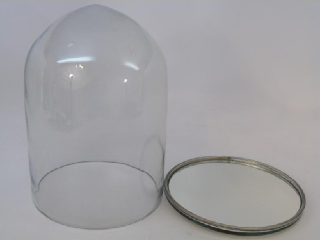Glass Dome / Cloche Dome w Mirrored Base - 2
