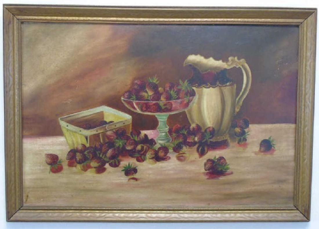 Still Life Oil Painting of Berries and Pitcher