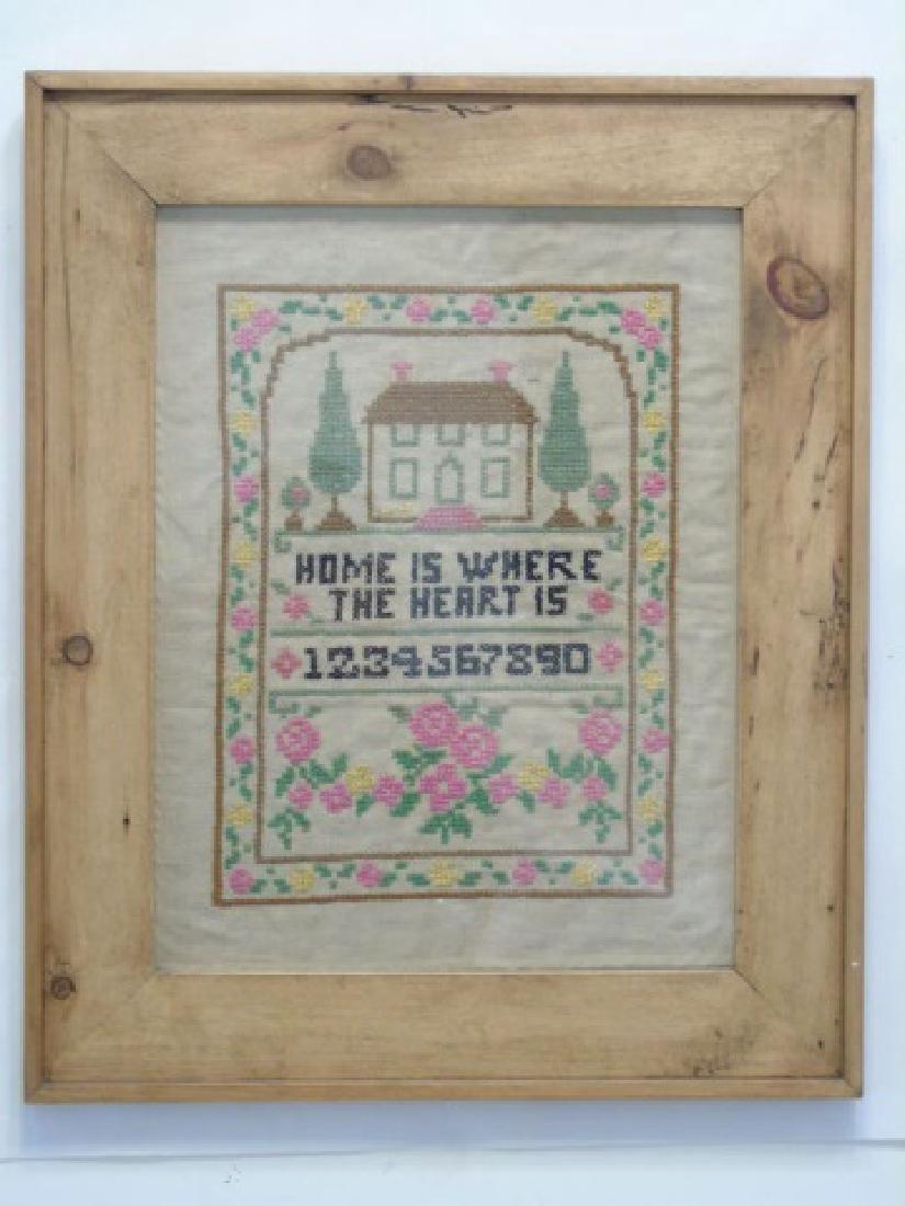 """Vintage Large Framed """"Home"""" Cross Stitch Sampler"""
