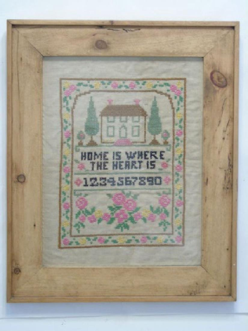"Vintage Large Framed ""Home"" Cross Stitch Sampler"