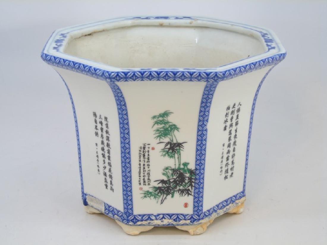 Oriental-Designed Octagon Ceramic Planter