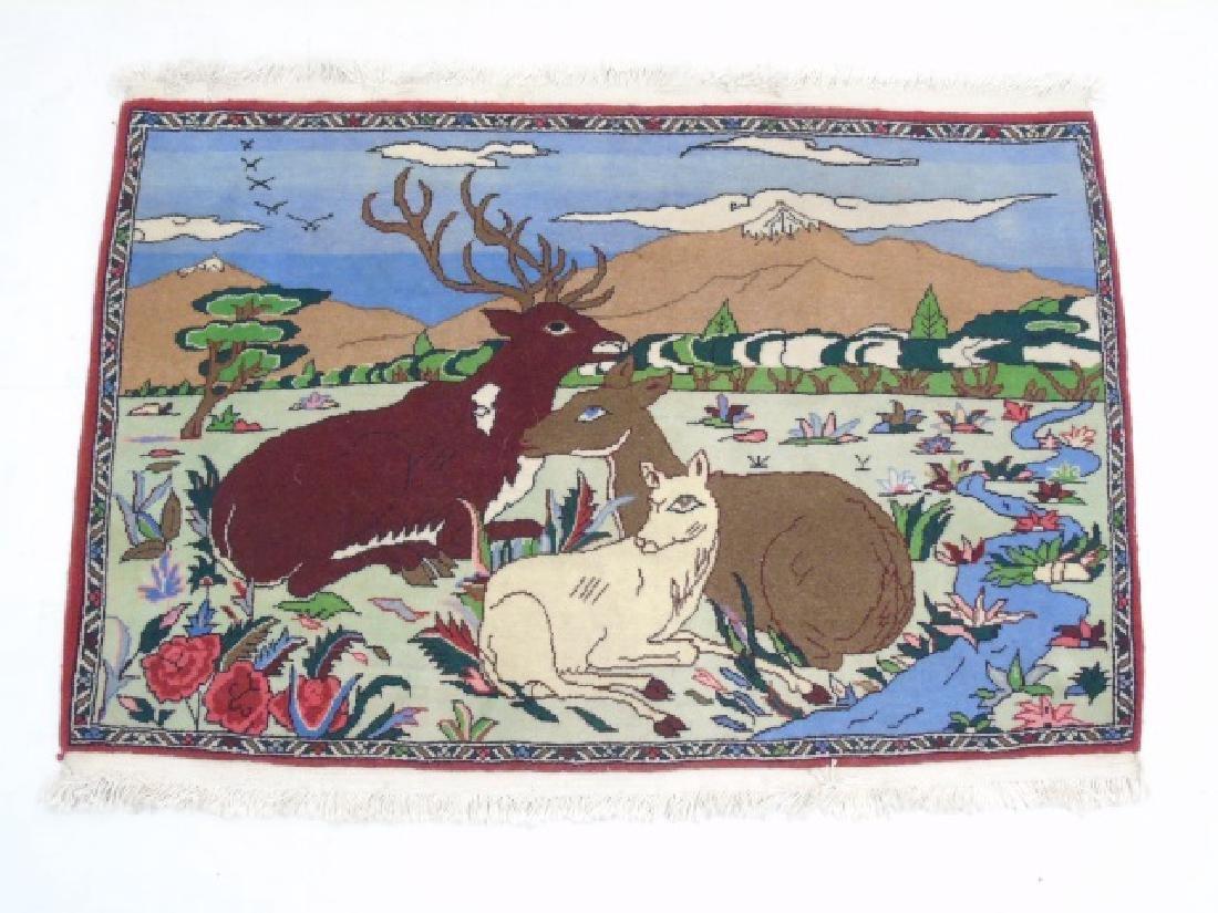 Fine Woven Handmade Wool Rug with Antler Deer