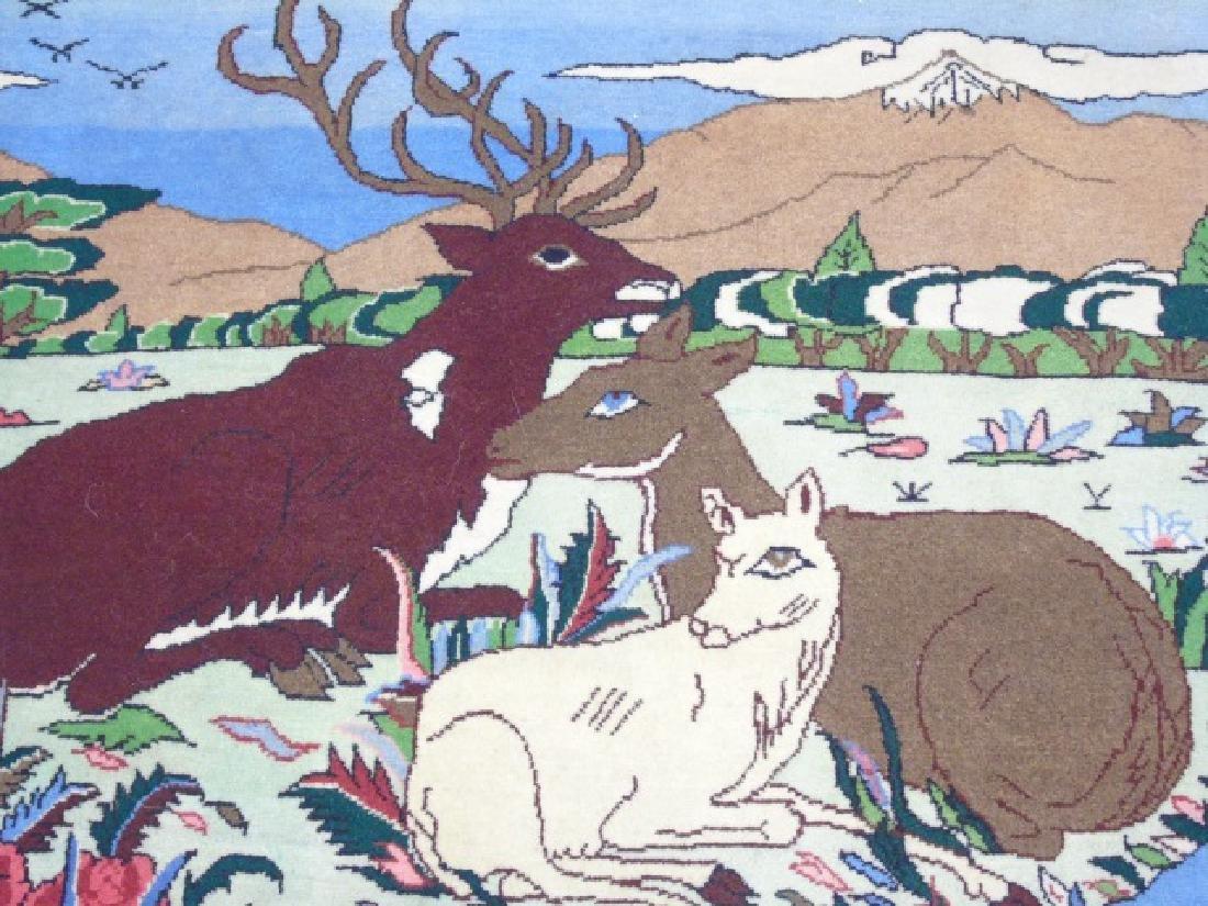 Fine Woven Handmade Wool Rug with Antler Deer - 3