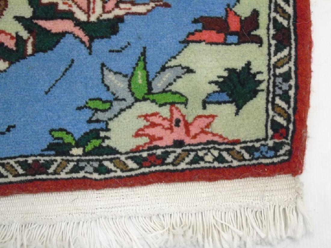 Fine Woven Handmade Wool Rug with Antler Deer - 4