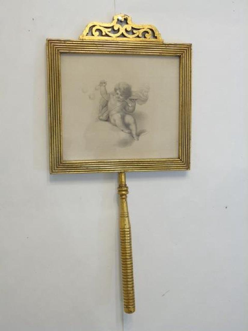 Gold Framed Cherub Print on a Stick-Handle