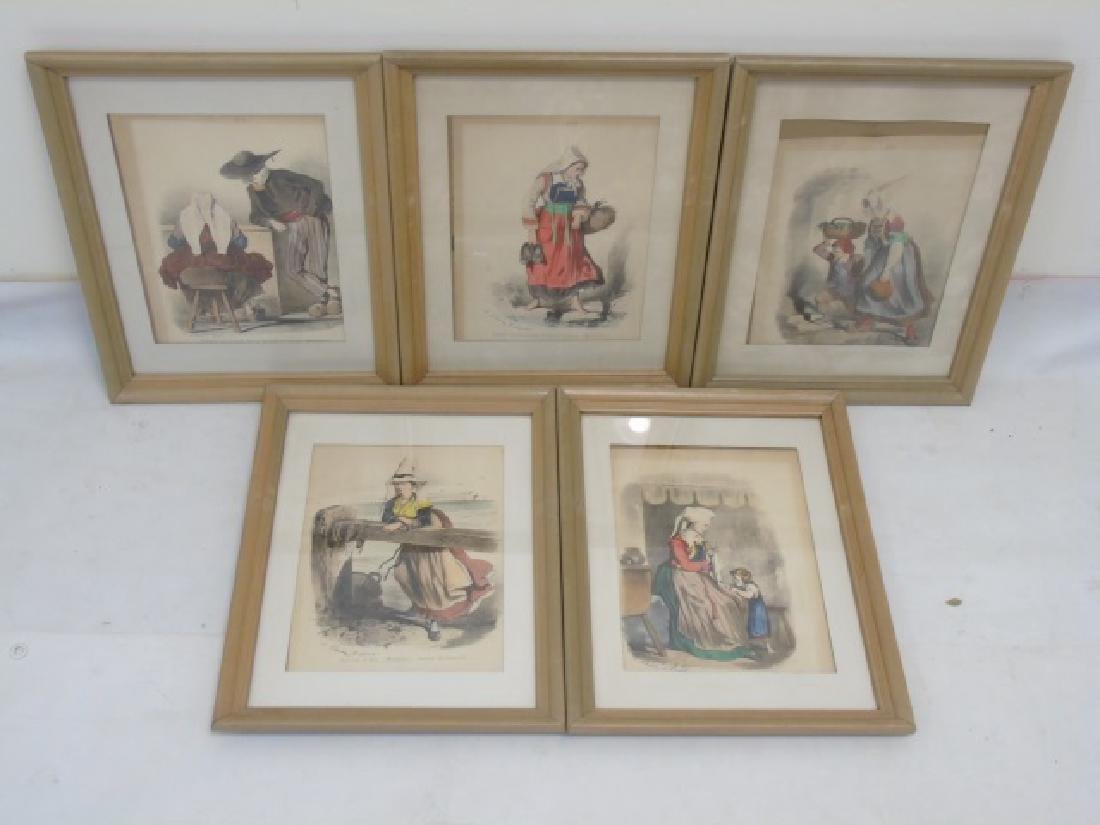 5 Framed Antique French Regional Costume Prints