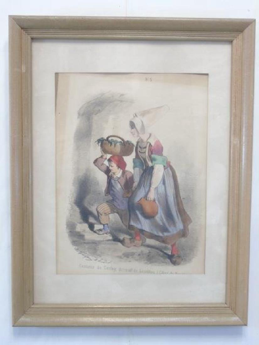 5 Framed Antique French Regional Costume Prints - 3