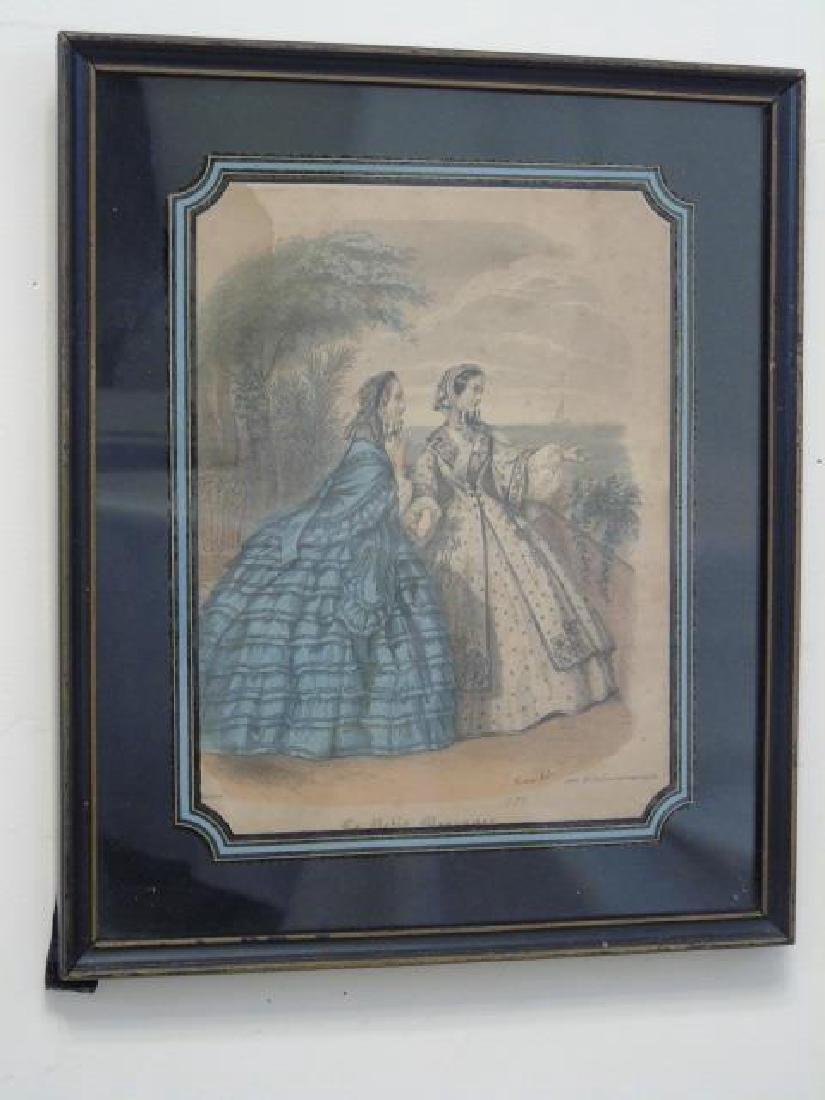 Antique Hand Colored French Prints Reverse Painted - 2