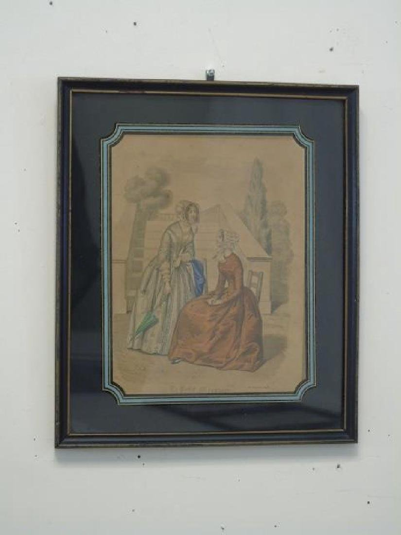 Antique Hand Colored French Prints Reverse Painted - 3