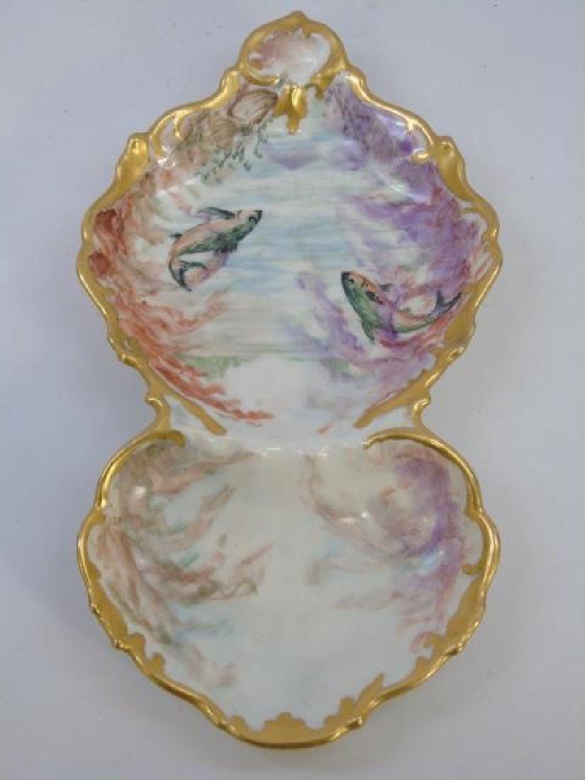 Antique Hand Painted T&V Limoges Fish Platter