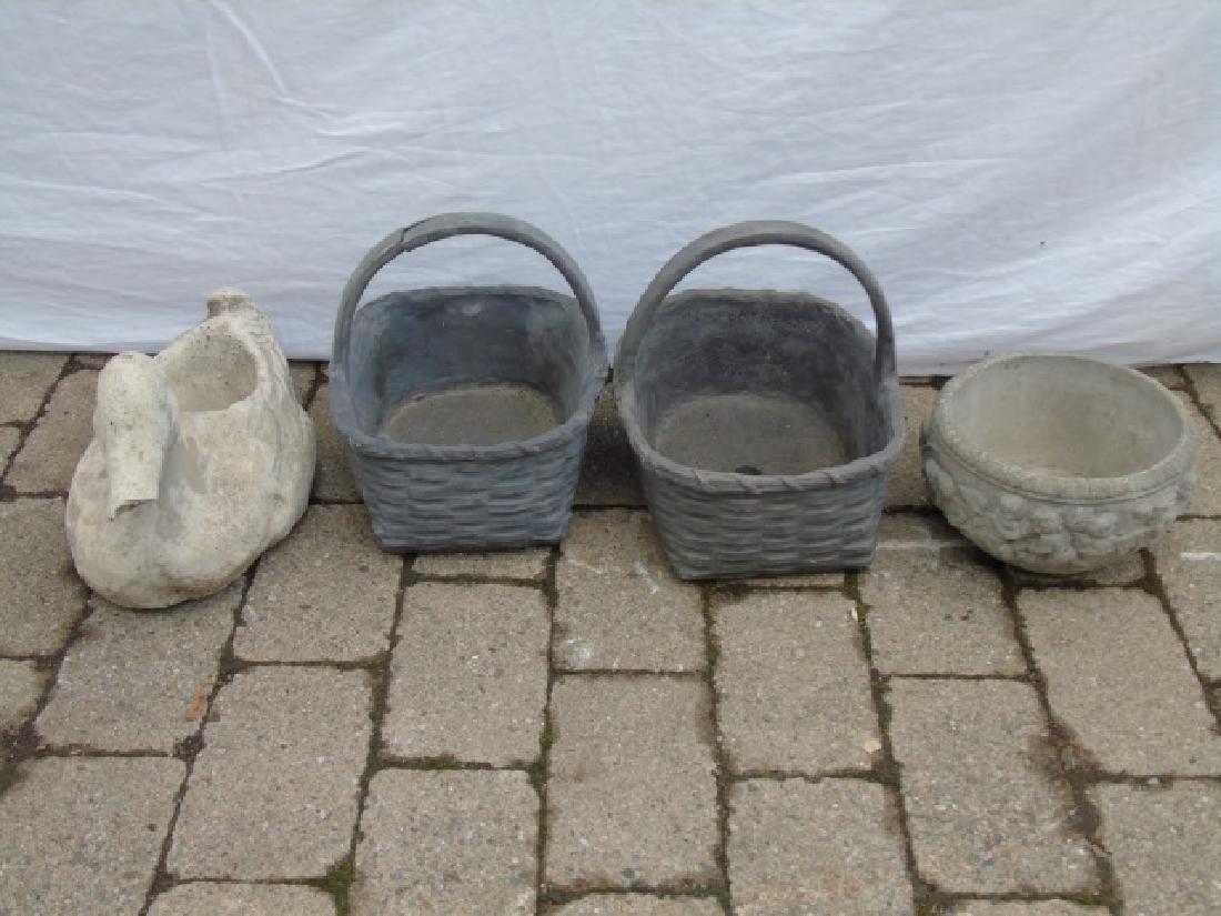Antique Garden Pottery Items - Baskets Duck & Bowl