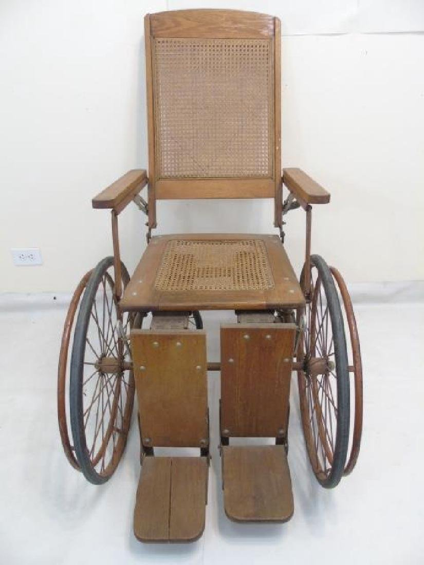 Antique Wood Framed & Cane-Seat Wheelchair - 3