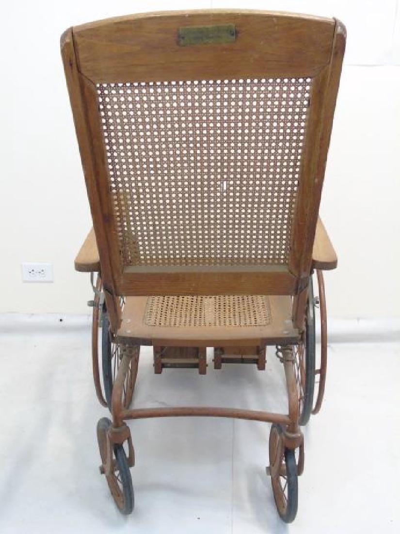 Antique Wood Framed & Cane-Seat Wheelchair - 4