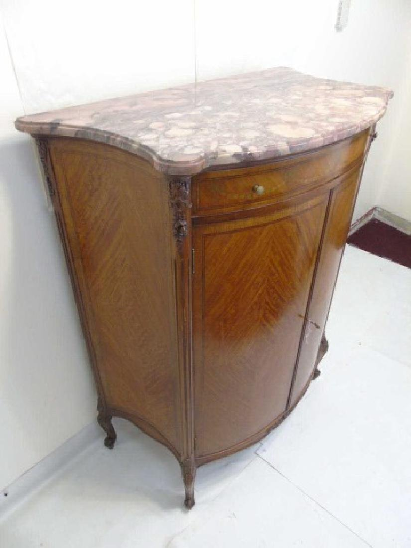 Antique French Style Marble Top Inlaid Cabinet