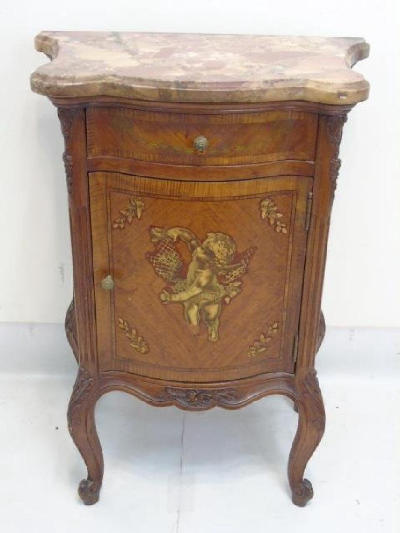 Antique French Style Marble Top Inlaid End Table