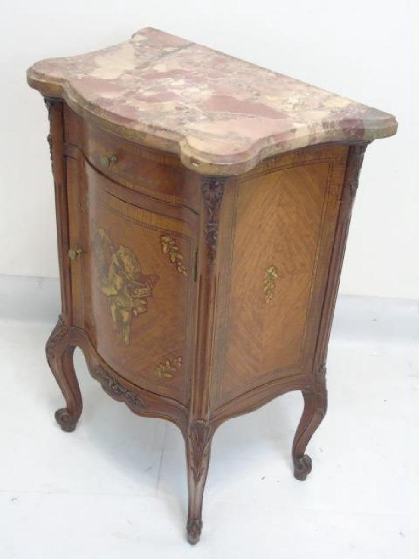 Antique French Style Marble Top Inlaid End Table - 2