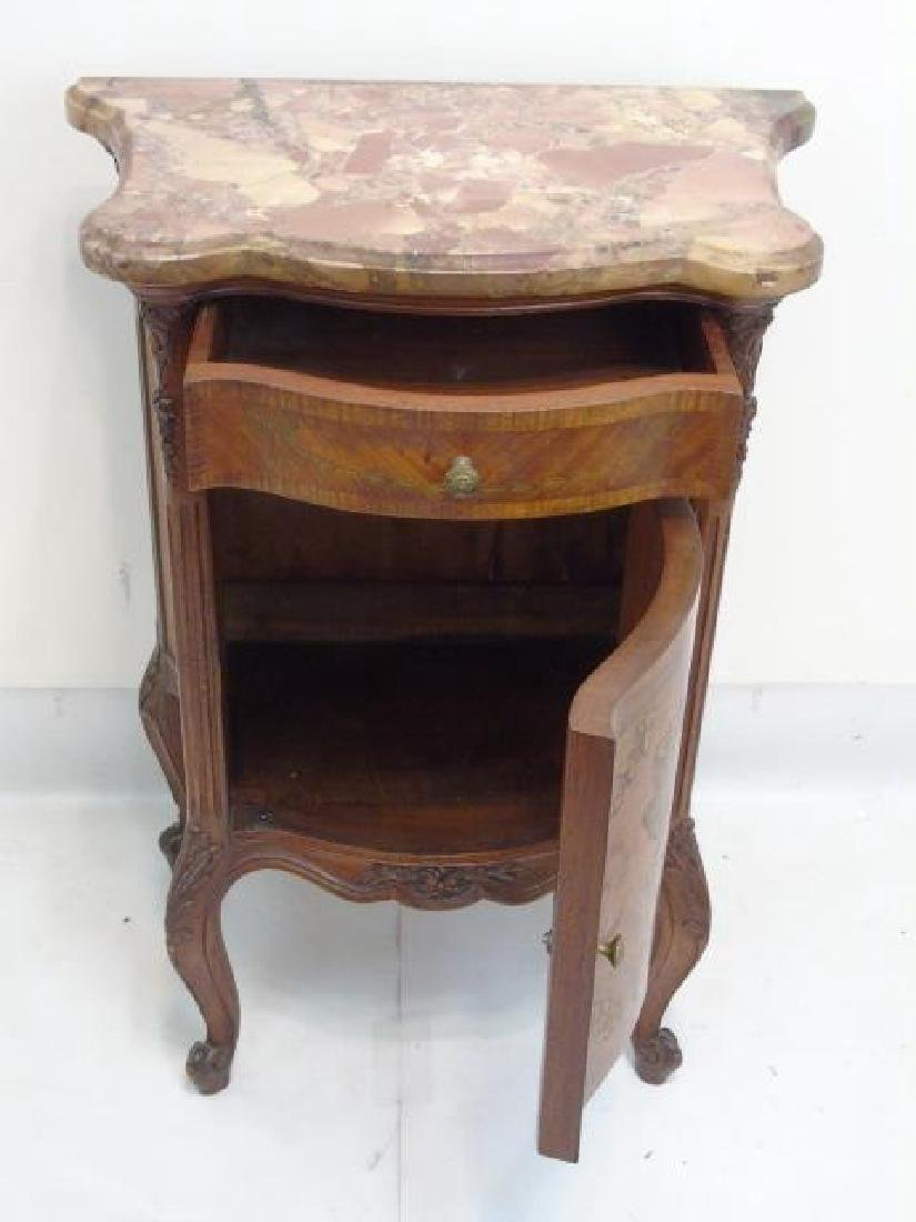 Antique French Style Marble Top Inlaid End Table - 3