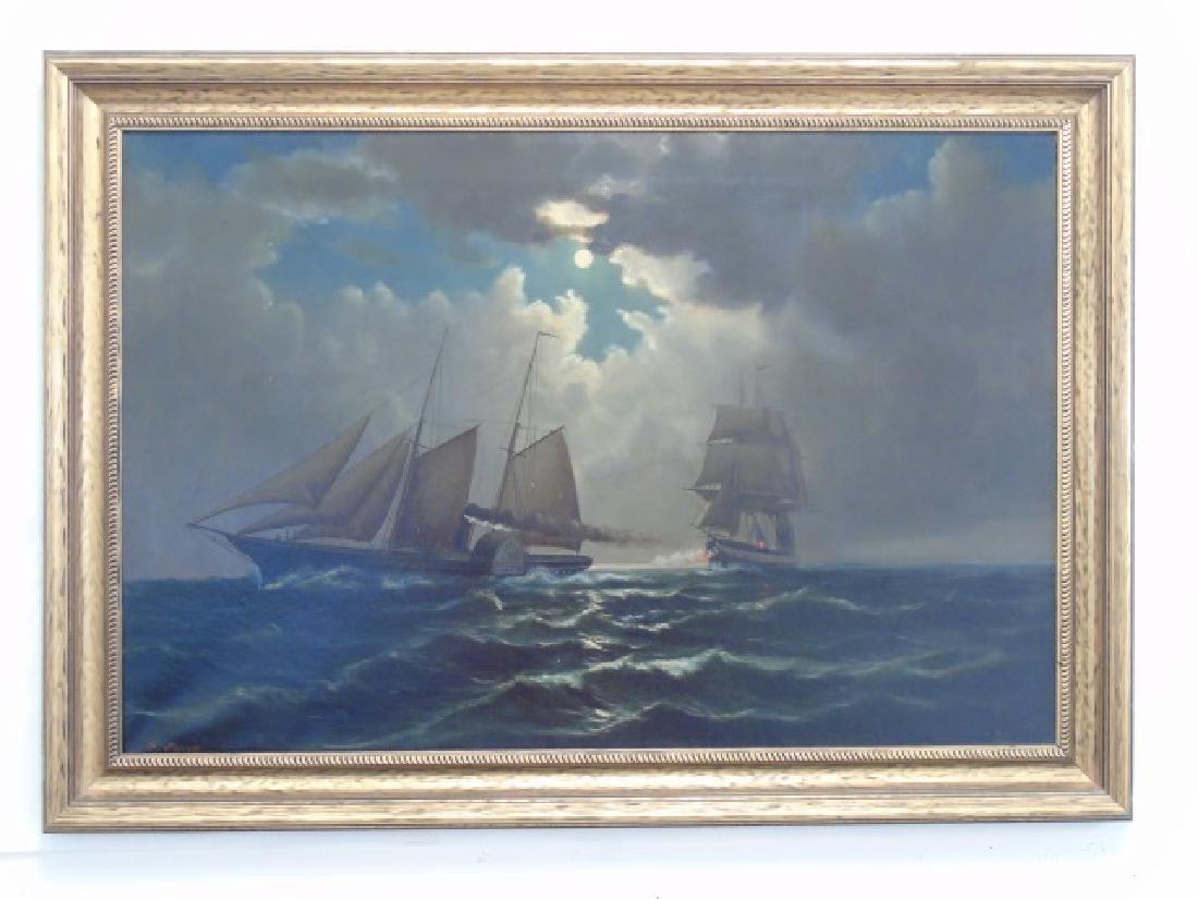 William Torgerson - Antique Marine Oil Painting