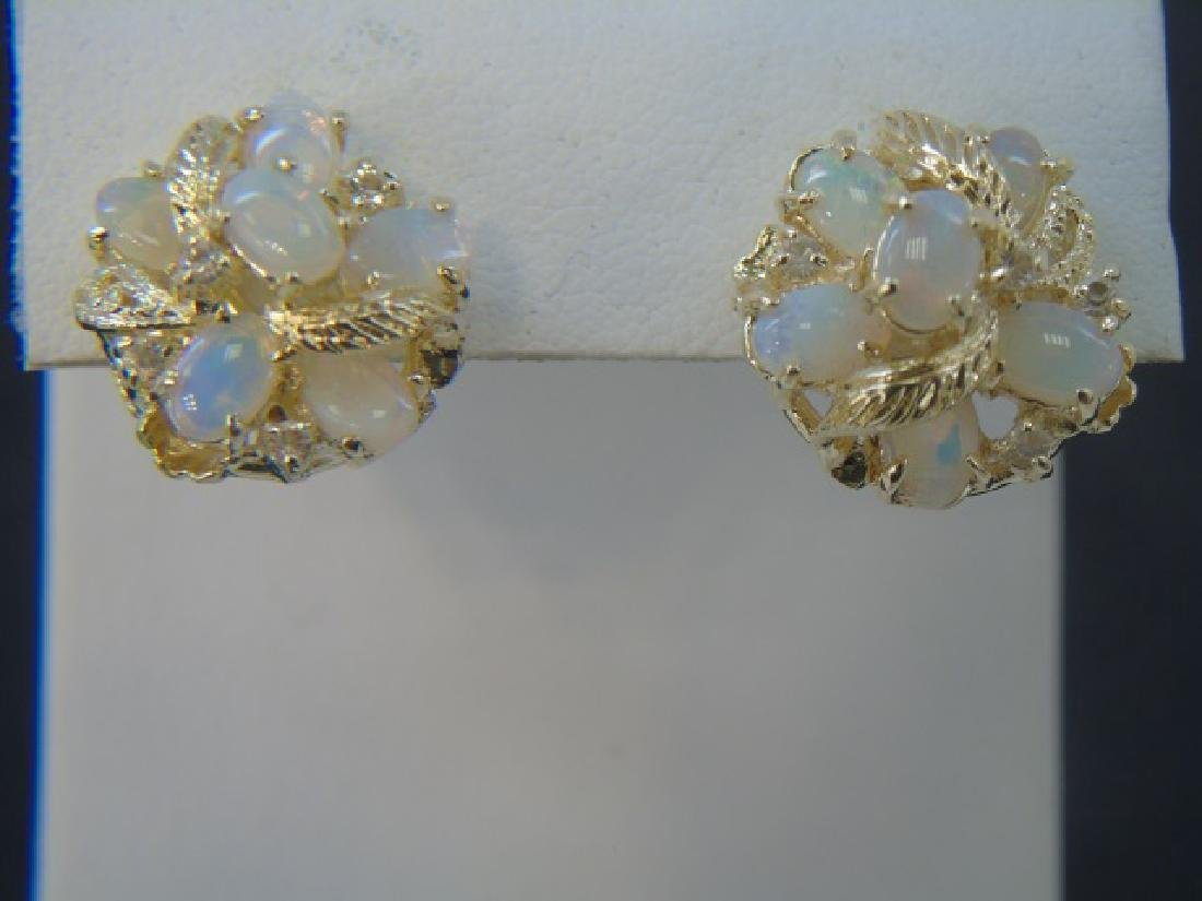 Estate Large Scale Carved Opal Earrings
