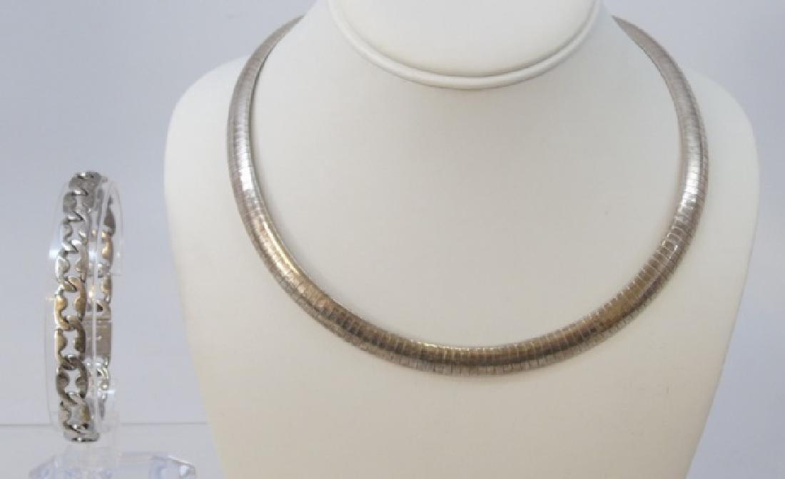 Vintage Sterling Silver Italian Necklace Bracelet