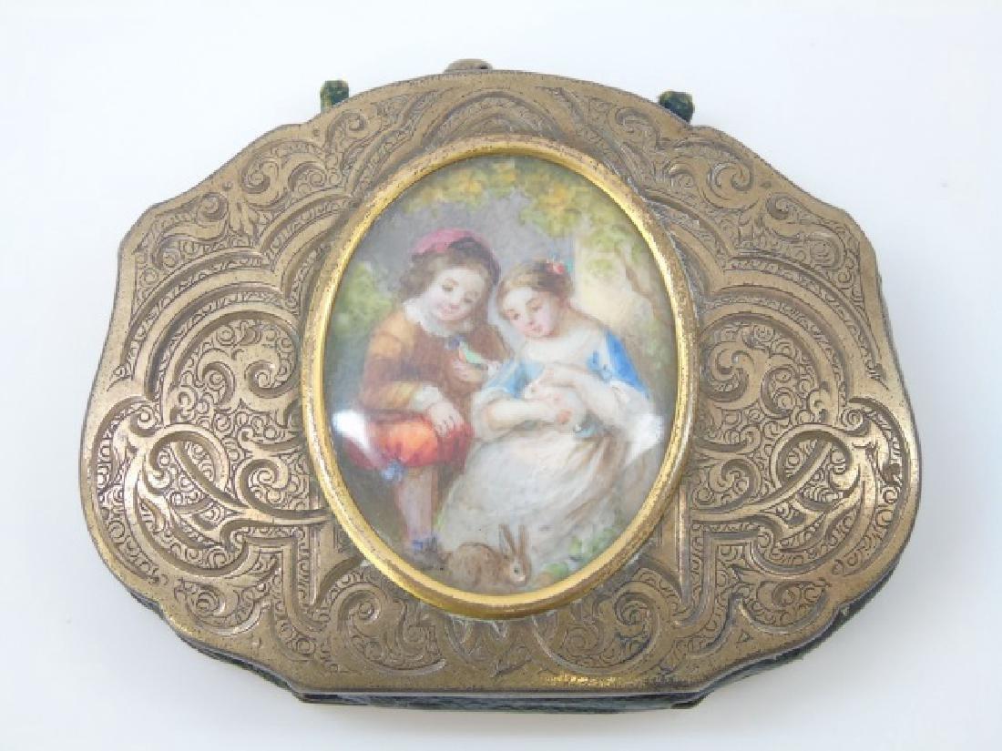 Antique 19th C Gilt Wash Portrait Miniature Purse