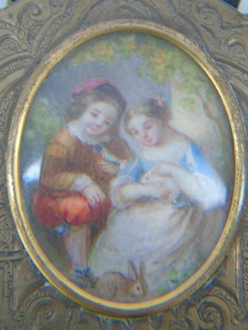Antique 19th C Gilt Wash Portrait Miniature Purse - 2