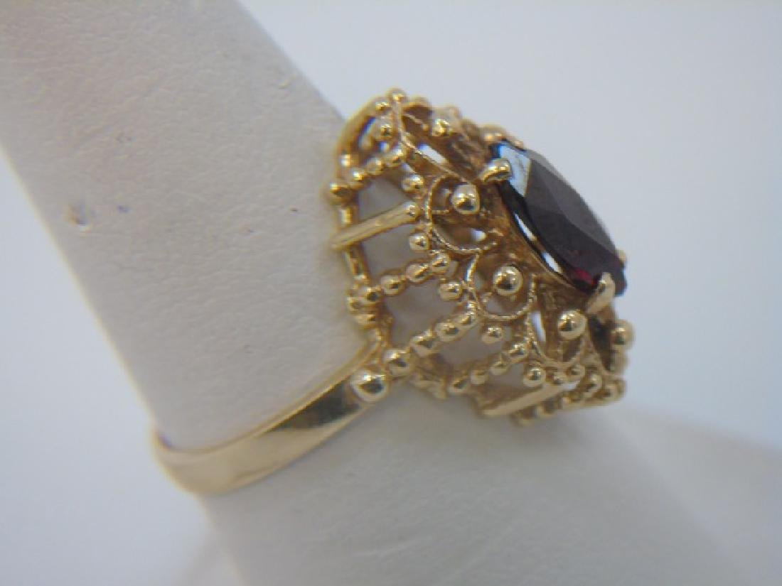 Estate 14kt Yellow Gold & Marquis Garnet Ring - 3