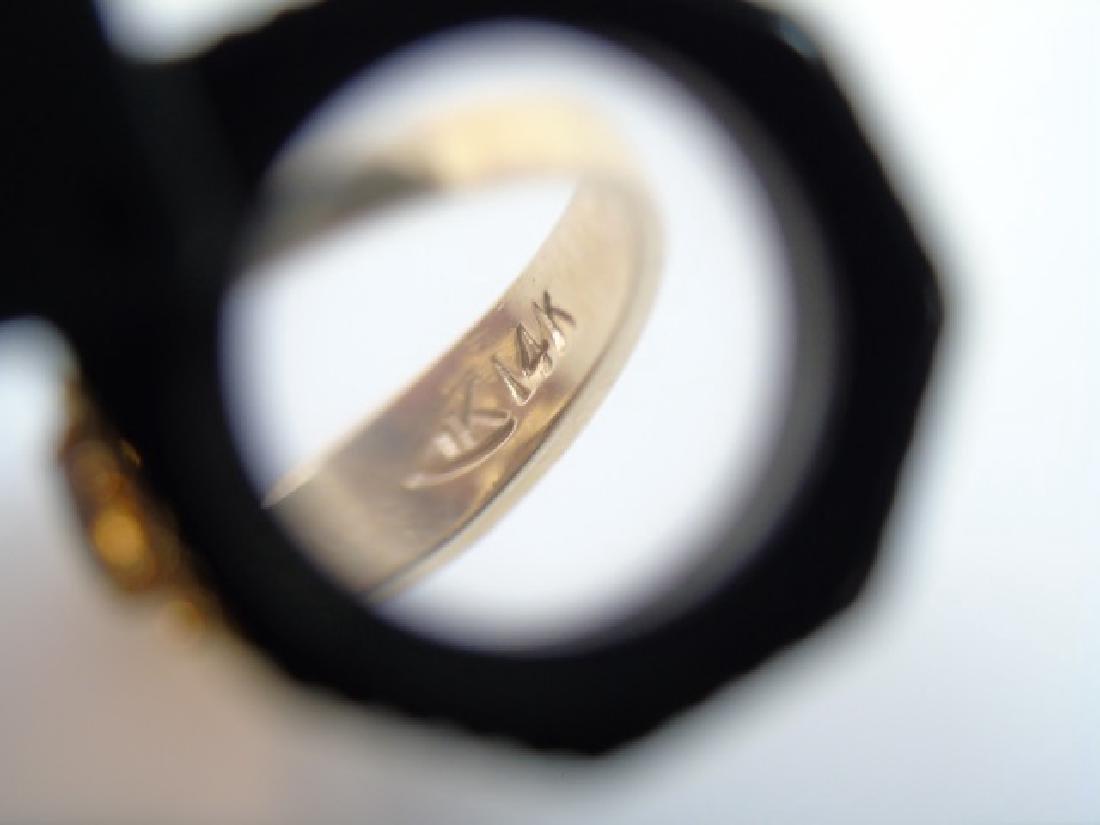 Estate 14kt Yellow Gold & Marquis Garnet Ring - 4