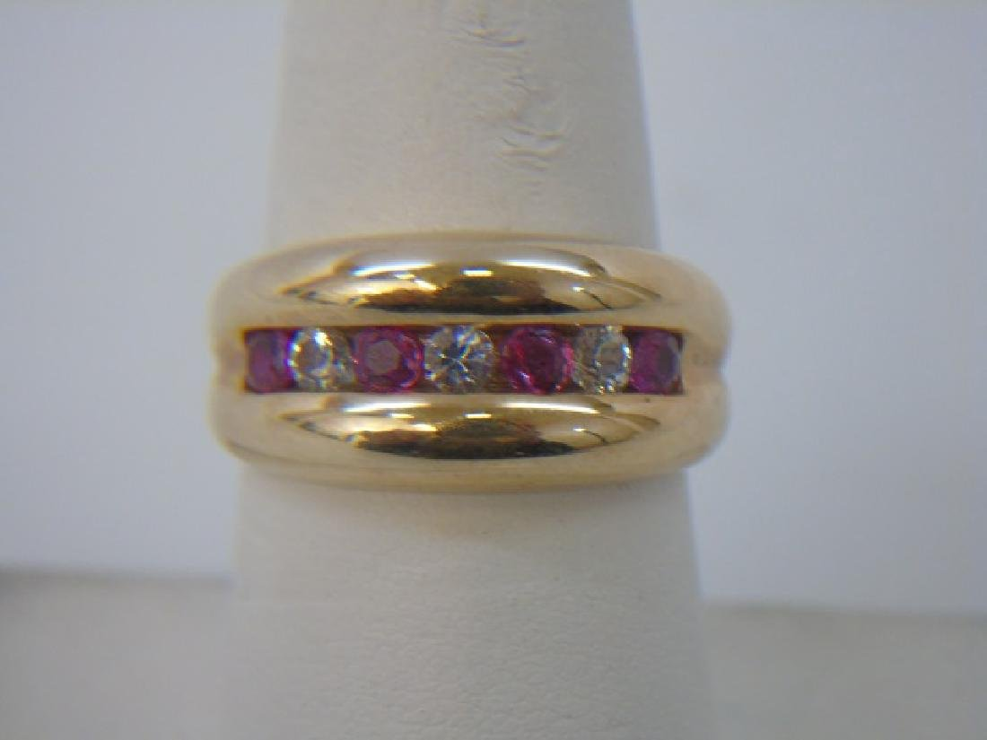 Estate Retro Ruby & Crystal 10kt Gold Ring