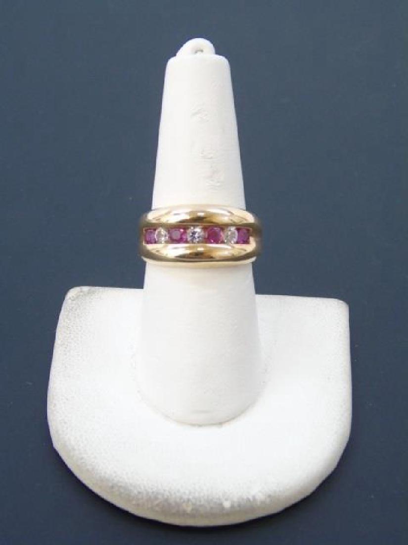 Estate Retro Ruby & Crystal 10kt Gold Ring - 2