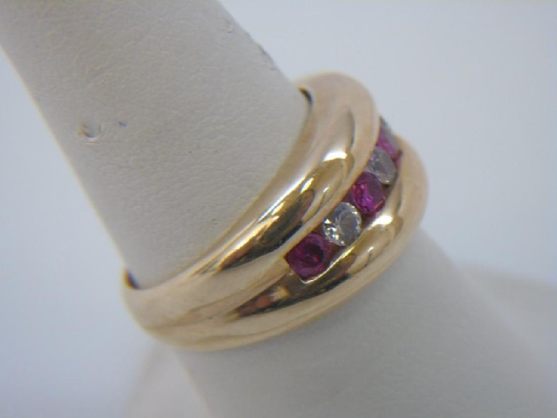 Estate Retro Ruby & Crystal 10kt Gold Ring - 3