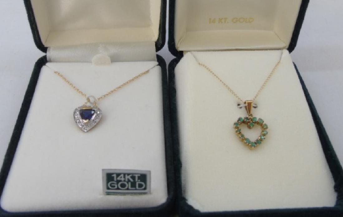 Two 14kt Gold Heart Necklaces Sapphire & Diamond