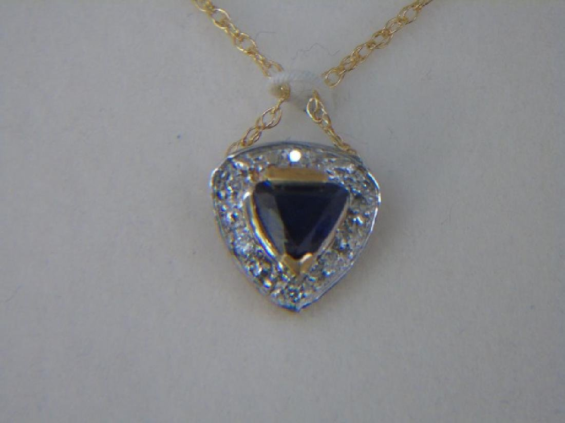 Two 14kt Gold Heart Necklaces Sapphire & Diamond - 3