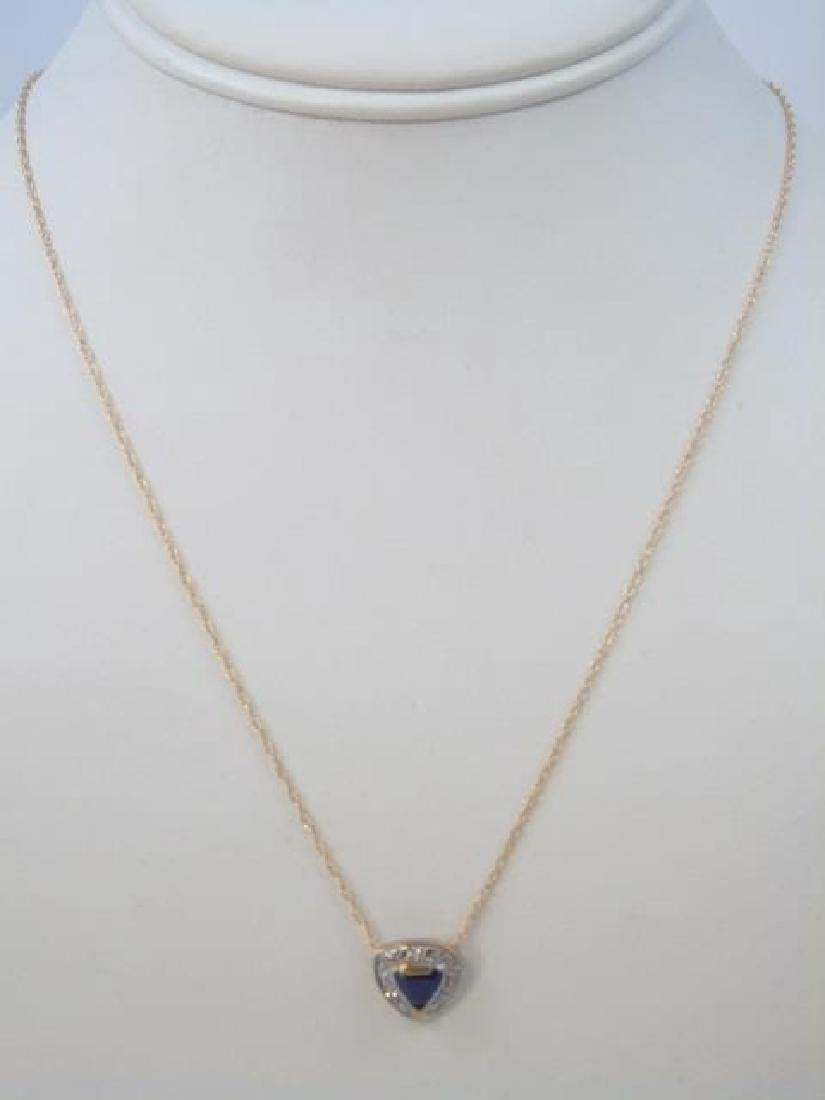 Two 14kt Gold Heart Necklaces Sapphire & Diamond - 4