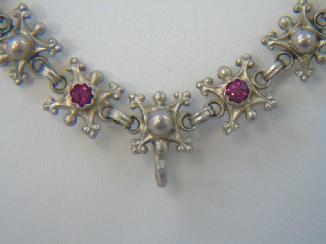 Estate 19th C Austro Hungarian Silver Necklace - 3
