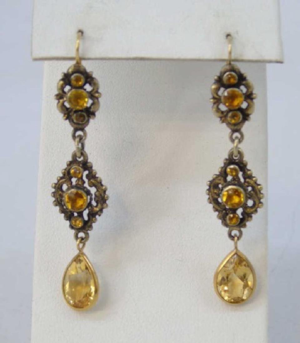 Estate  Austro Hungarian Gold Citrine Earrings