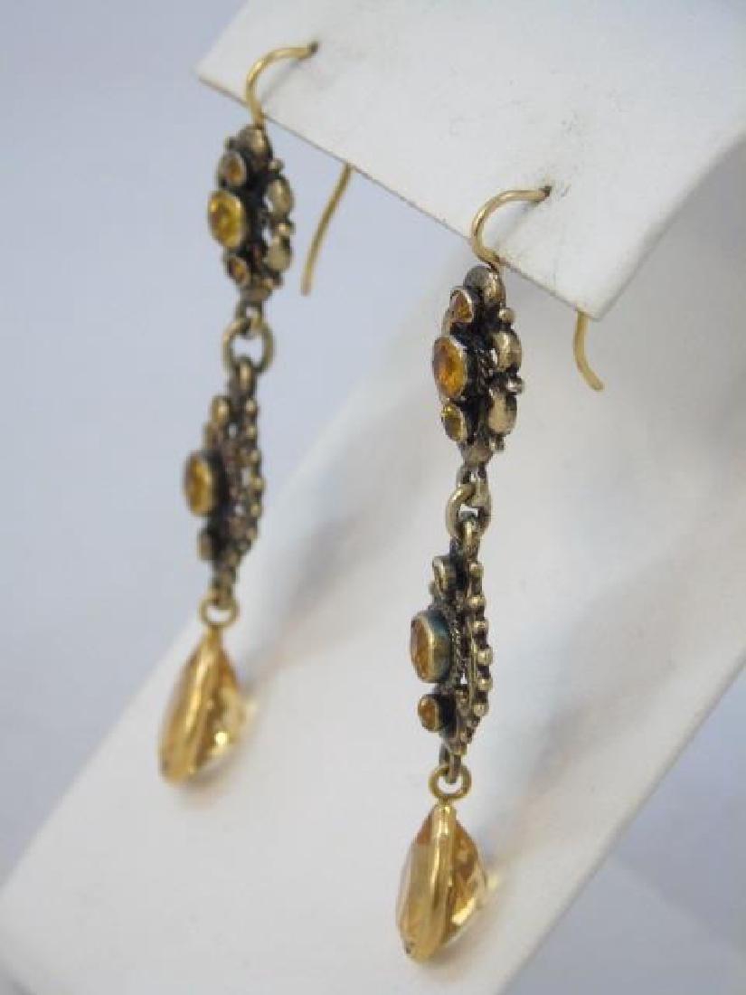 Estate  Austro Hungarian Gold Citrine Earrings - 2
