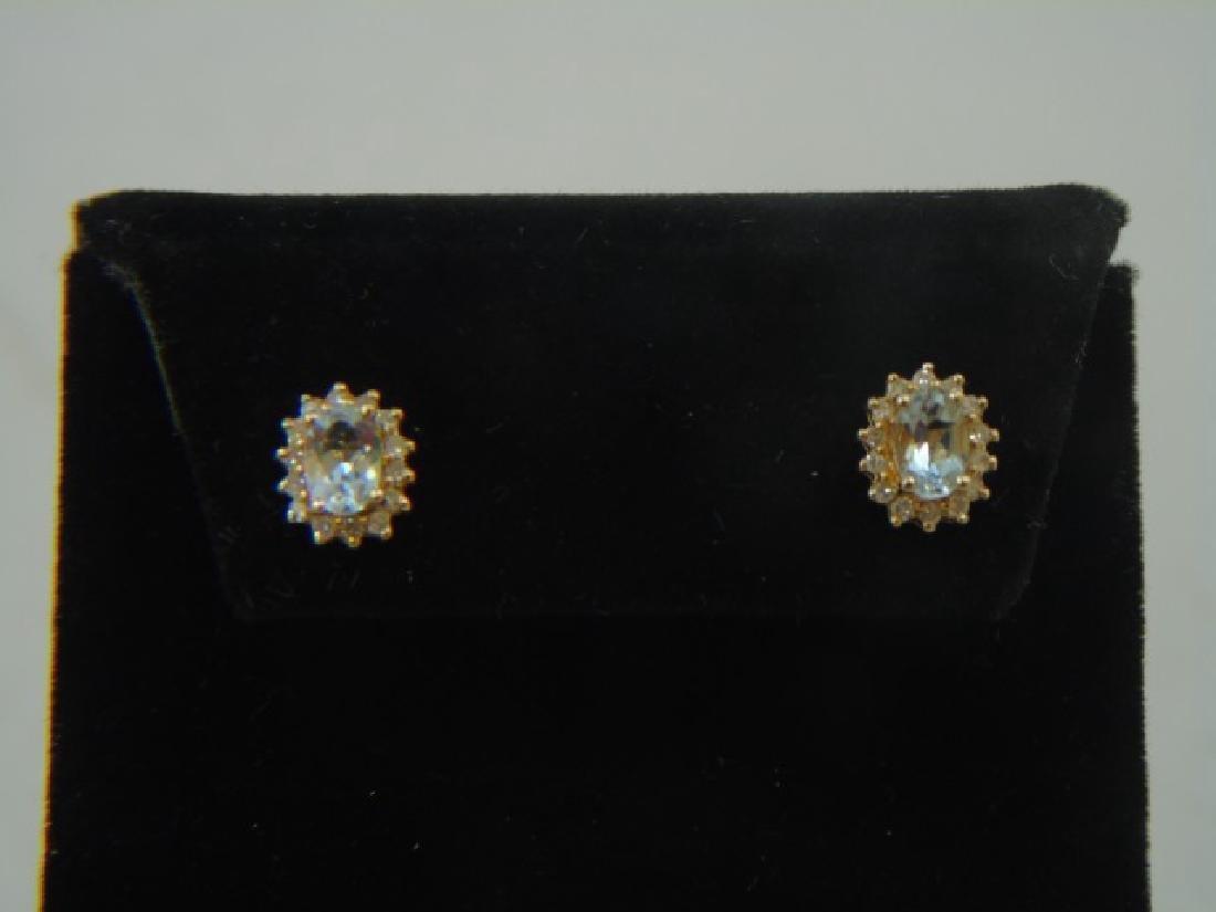 Estate Aquamarine & Diamond 14kt Gold Earrings