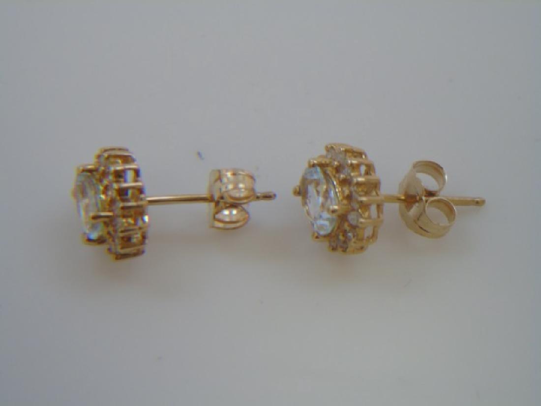Estate Aquamarine & Diamond 14kt Gold Earrings - 4