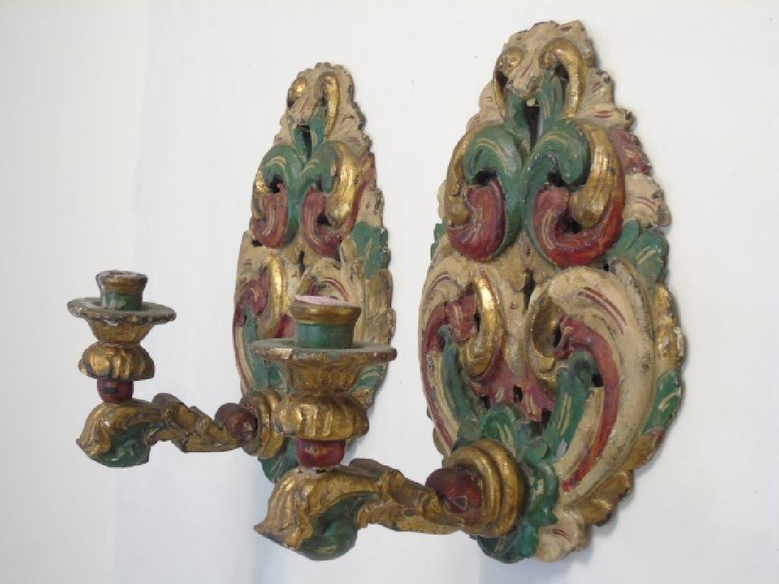 Pair Italian Hand Carved Wood Candle Sconces