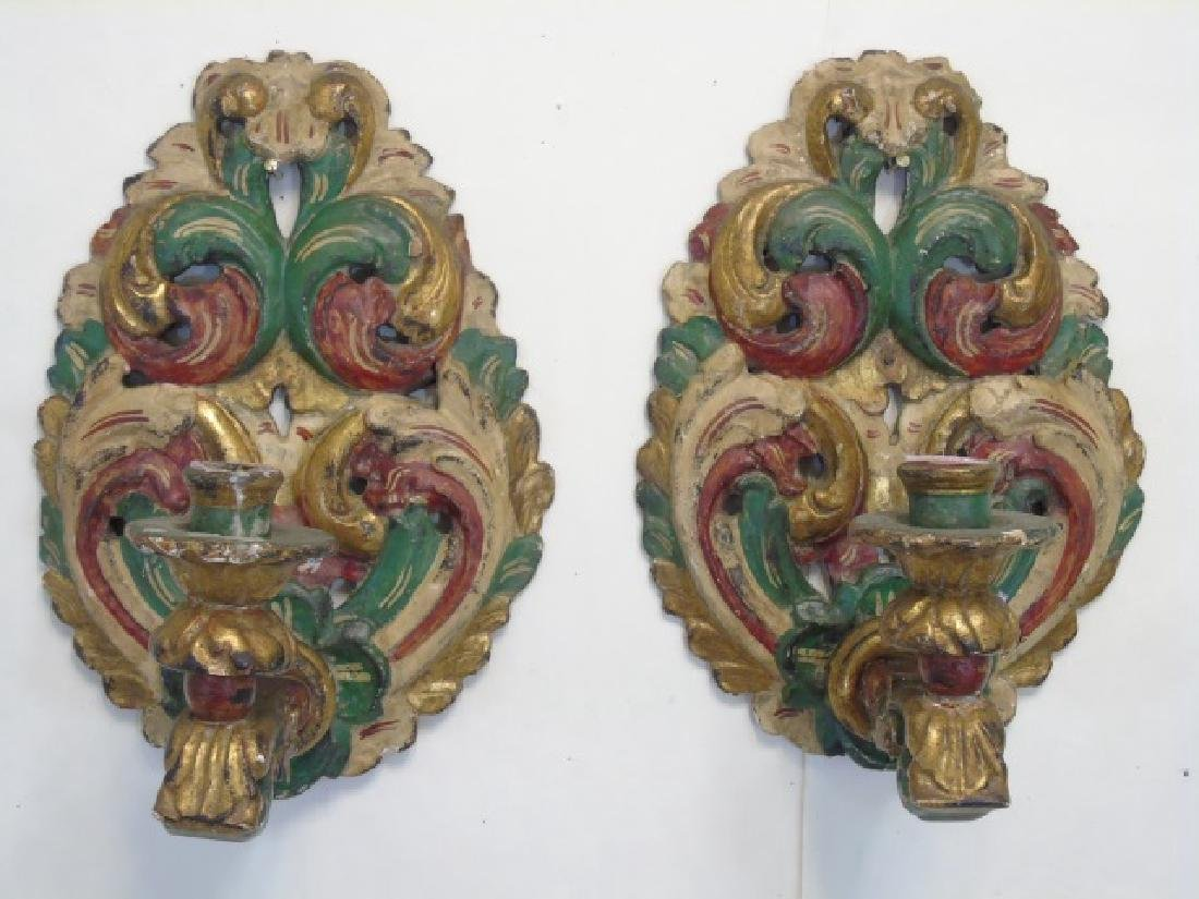 Pair Italian Hand Carved Wood Candle Sconces - 3