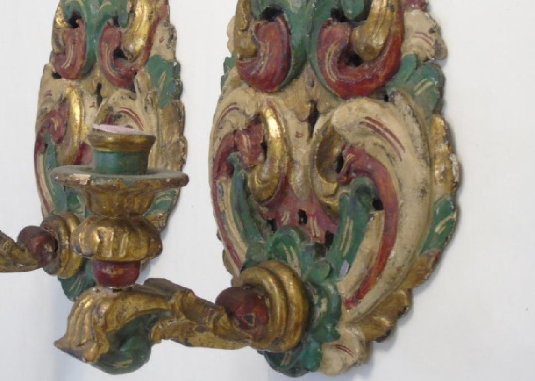 Pair Italian Hand Carved Wood Candle Sconces - 4